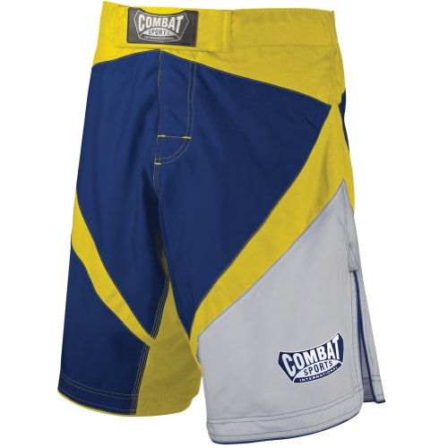 Combat Sports Fight MMA Boardshorts (Blue-Yellow-White, - White Mma Fight Shorts