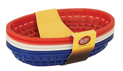 Tablecraft H1074RWB 6 Piece Classic Oval Plastic Baskets, Red/White and - Bread Baskets Blue