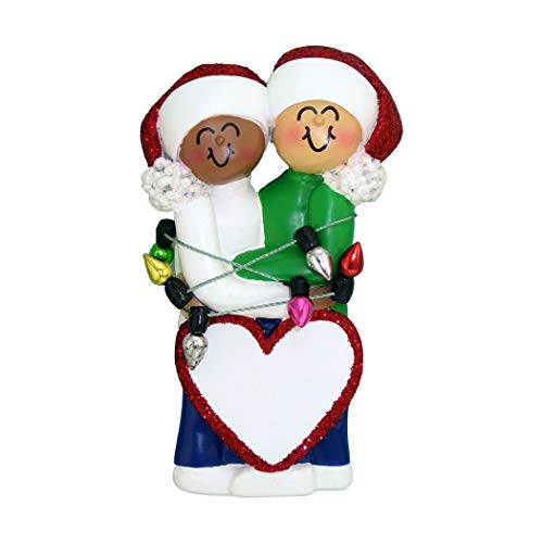 Personalized Tangled in Real Lights Family of 2 Christmas Tree Ornament 2019 - African-American Female Caucasian Male Hug Heart Romantic Cute Tradition - Free Customization (Two Interracial)
