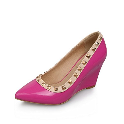 BalaMasa Womens Studded Solid Slip-On High-Heels Rubber Pumps-Shoes RoseRed rPAuHhy