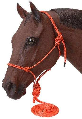 Tough 1 Poly Rope Tied Halter with Lead, Orange (Rope Halter Poly)