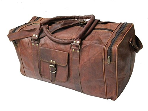 24 Inch Genuine Leather Duffel | Travel Overnight Weekend Leather Bag | Sports Gym Duffel for Men (vintage brown) (For Leather Bags Men Weekend)