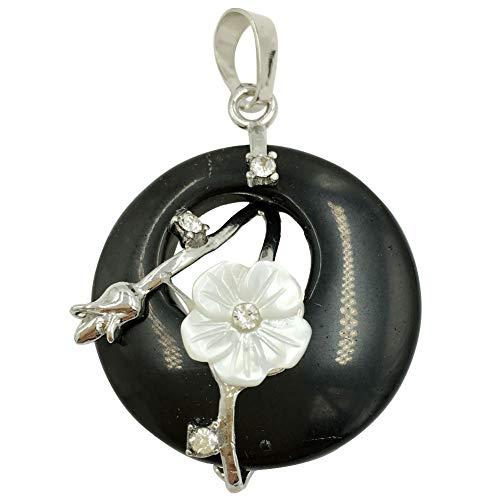 Jewelry58718 Fashion Round White Shell Flower Black Agate Pendant Bead 1pcs (Stone)