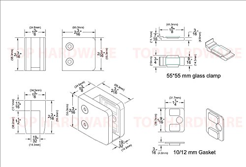 Stainless Steel 316 Grade Square Flat Back Glass Clamp 55 x 55 mm for 3/8'' or 1/2'' Laminated Glass, Mirror Finish, 4-Pack (GC-056M) by Top Hardware (Image #3)