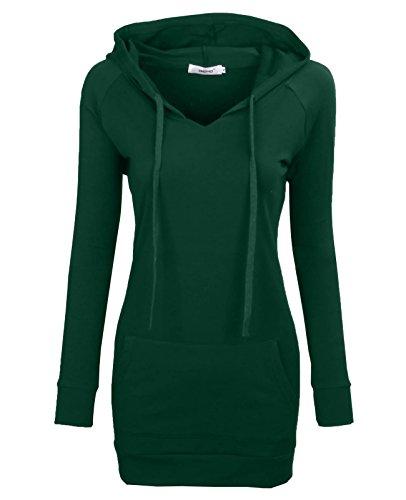 Bepei® Women's Long Sleeve Crewneck Tunic Sweatshirt String Hoodie Dark Green 3XL (Hooded Sweater Dress)