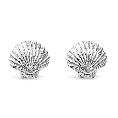 (925 Solid Sterling Silver Tiny Sea Shell Stud Earrings, Mini Beach Ocean Animal Seashell Scallop Jewelry)