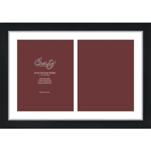 Craig Frames 1WB3BK 12 by 18-Inch Black Picture Frame, Single White Collage Mat with 2-8 by 10-Inch Openings (2 8x10 Picture Frame)