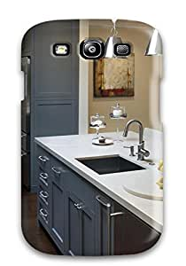Top Quality Rugged Transitional Kitchen With Gray Cabinetry And Shiny Pendant Lights Case Cover For Galaxy S3