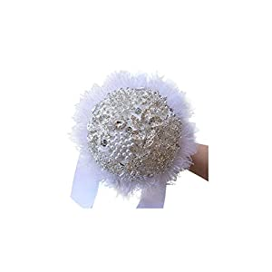 FAT BIG CAT European Style White Lace Wedding Flowers Bridal Bouquets with Crystal Pearls Ramo Boda Bridesmaid Flower Bouquet New 33