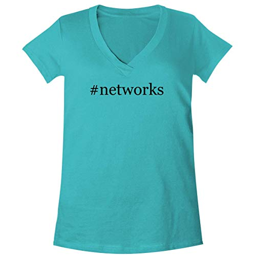 - The Town Butler #Networks - A Soft & Comfortable Women's V-Neck T-Shirt, Aqua, Small