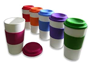 Set of 6 Large Sized 16oz BPA-Free Double-Wall Travel To-go Mugs with Comfort Grip