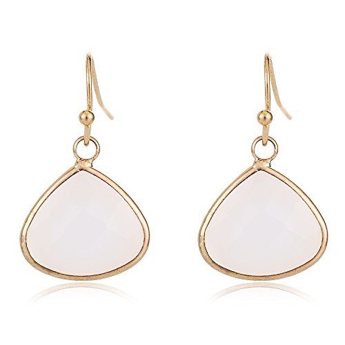 Women's Fashion Natural Stone Gemstone Tear Drop Dangle Earring Rose Gold Silvering Jewelry Mother's Day Gift (White (Agate Gold Earrings)