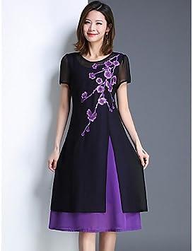 YFLTZ Vestido de chifón para Mujer - Floral hasta la Rodilla, Violeta, XXXXXL