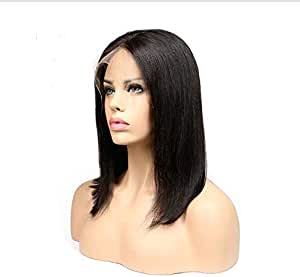 Short Straight Hand Tied Front Lace Synthetic Wig for women