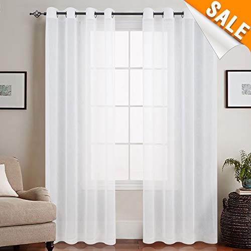 Sheer Curtains for Living Room Bleach White Ring Top Bedroom Volie Window Curtains Set 95 inches Long 1 Pair