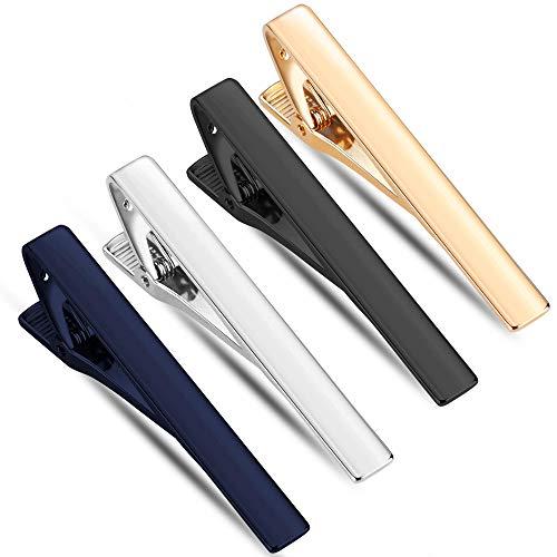 Selizo 4 Pcs Tie Bar Clips Set Tie Tack Pins for Regular Men Necktie Weeding Business Clip (Black, Silver, Gold and Dark Blue) -