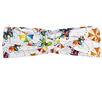 Lunarable Butterfly Headband, Umbrellas and Butterflies Fairy Concept Appreciate Your Life Love Theme, Elastic and Soft Women