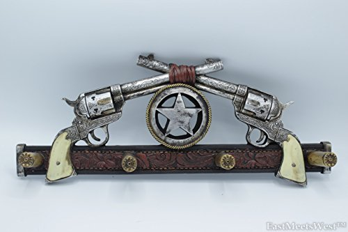 Western Rustic Silver Star Crossed Six Shooter Revolver Pistol Gun Wall Hook Key Holder Coat Hanger 4 12 Gauge Shell Hooks Hand Painted Decoration