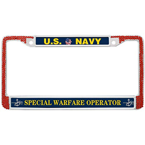 GND US Navy Special Warfare Operator License Plate Frame Red Diamond,United States Navy Bling Metal License Plate Frame Rhinestones Crystal License Plate Frame for US Vehicles