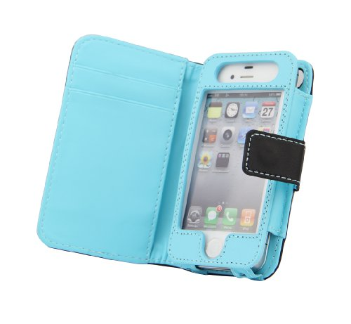 Milliongadgets(TM) Black&Blue Compatible for iPhone 4 & 4S AT&T / Verizon / Sprint Dot Durable PU Leather Wallet Card Holder Flip Pouch Stand Case Cover with free screen protector
