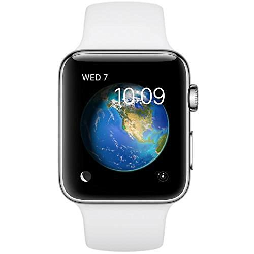 Apple Watch Series 2, 38mm Stainless Steel Case with White Sport Band (Renewed)