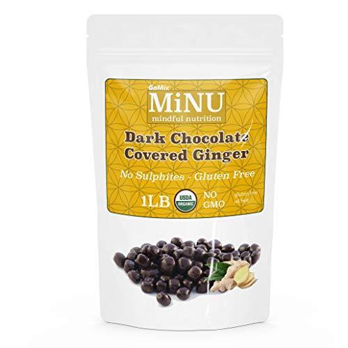 MiNU Organic Dark Chocolate Ginger 16 oz (1 lb), MiNU Mindful Nutrition GoMix Superfood NonGMO organic fair-trade 65% dark chocolate, dipped in-house