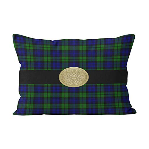Wesbin Black Watch Tartan Plaid with Celtic Knot Cute Hidden Zipper Home Decorative Rectangle Throw Pillow Cover Cushion Case Inch 20x26 Standard One Side Design Printed Pillowcase