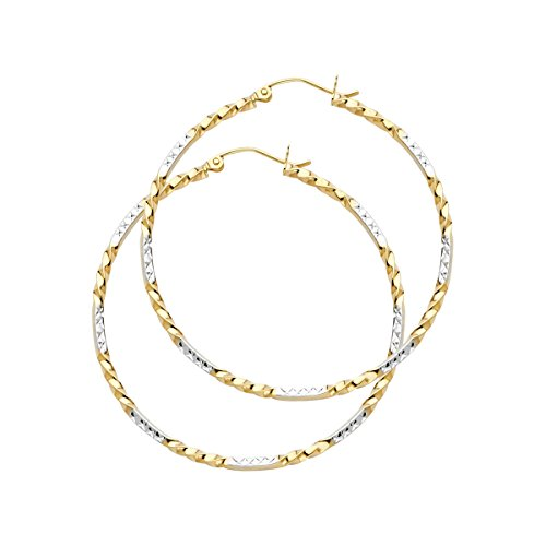 TGDJ 14K Yellow White Curled Hoop Earrings -(Diameter - 35 MM) by Top Gold & Diamond Jewelry