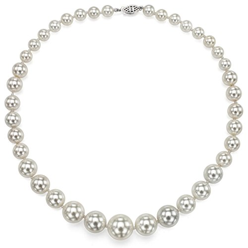 La Regis Jewelry Sterling Silver Graduated 8-16mm White Round Simulated Shell Pearl Necklace, 18