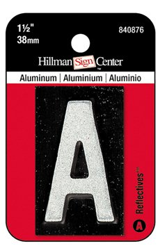 Hillman 1-1/2 Inch Reflective Black Aluminum Mailbox Letter / Number (A) by Hillman