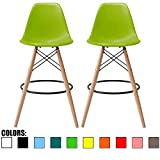 2xhome – Set of Two (2) – Green – 28″ Seat Height DSW Molded Plastic Modern Bar Stool Barstool Counter Stools with Backs and armless Natural Legs Wood Eiffel Legs Dowel-Leg Review