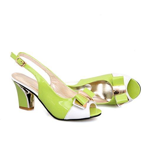 Amoonyfashion Dames Hoge Hakken Lakleer Diverse Kleur Gesp Open Teen Hak-sandalen Groen