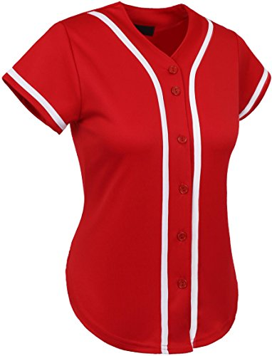 Button Down Jersey (Hat and Beyond UP Womens Baseball Button Down Athletic Tee Short Sleeve Softball Jersey Active Plain Sport T Shirt (Small, 01 Red/White))