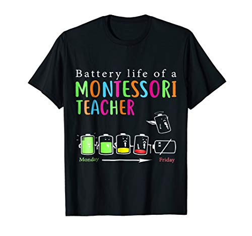 Battery Life Of A Montessori Teacher Cute Gift Shirt