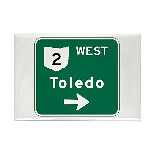 CafePress Toledo, OH Highway Sign Rectangle Magnet Rectangle Magnet, 2