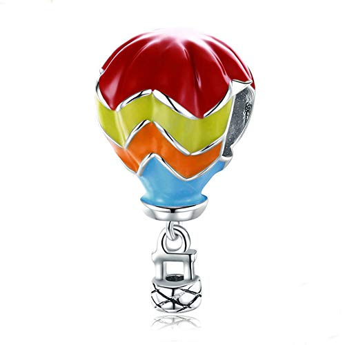 Air Balloon Romantic Hot (Beauty Hot Air Balloon Charm 925 Sterling Silver Romantic Travel Bead for Bracelet or Necklace)