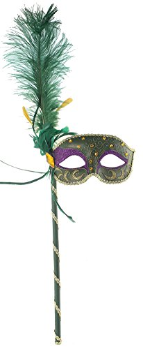 [RedSkyTrader Womens Mardi Gras Stick Mask with Feathers One Size Fits Most Green] (Feather Mask With Stick)