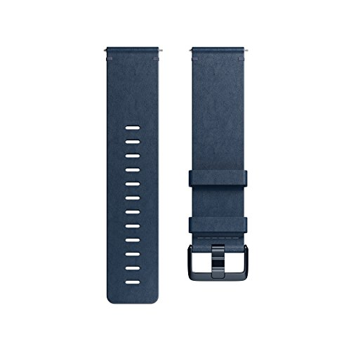 Fitbit Versa Family Accessory Band, Official Fitbit Product, Premium Horween Leather, Midnight Blue, Small ()