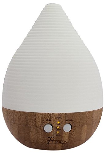 Pursonic AD260 Bamboo and Ceramic Aroma Diffuser with Ambient Lighting, 2-Aromatherapy Essential Oil
