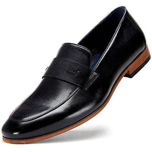 Business Casual Penny Loafers for Men - Slip on Dress Shoes for Men MS006-BLACK-10.5