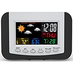 Weather Station Alarm Clock with Large Easy to Read Full Color Display by Tech Tools