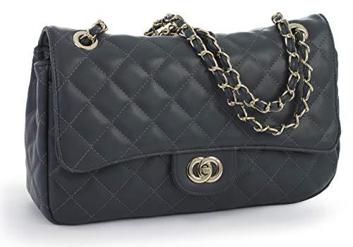 Clasp Handbag Bag Shoulder Party Twist Round Shop D2 Purse Clutch Large Deep Grey Quilted Wedding Womens Lock Big UnFfTqT1