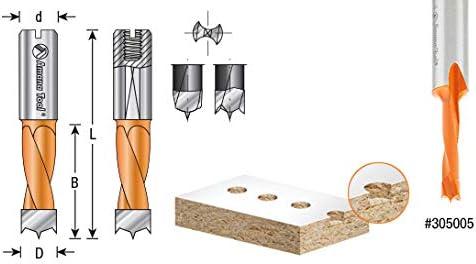 305005 Carbide Tipped Brad Pt Amana Tool Boring Bit L//H 5mm Dia x 57mm Long x 10mm Sh