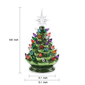 "Joiedomi 9"" Tabletop Prelit Ceramic Christmas Tree with LED Lights Battery Powered, Mini Christmas Tree Decoration 2"