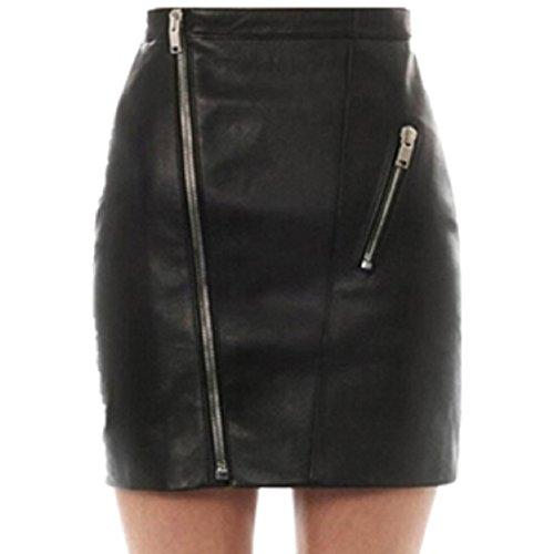 LuckyGirls Femmes Faux Cuir Mini Jupe Mode Tirette Occasionnel Crayon Jupes Noire Noir