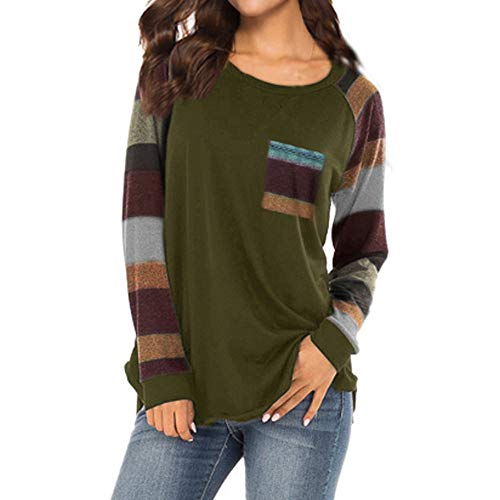 iBOXO Fashion Women Plus Size Casual T Shirt Ladies Loose Long Sleeve Tops Blouse Shirt Tunic(Army -