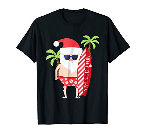 Santa Surfing T Shirt for Kids Adult Mom Dad Son Daughter -