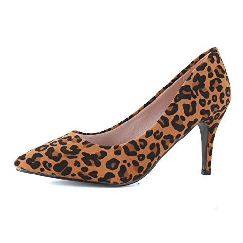Guilty Shoes Womens Closed Pointy Toe High Mid Stiletto Heel - Party Dress Slip On Pump (10 M US, Leopard)