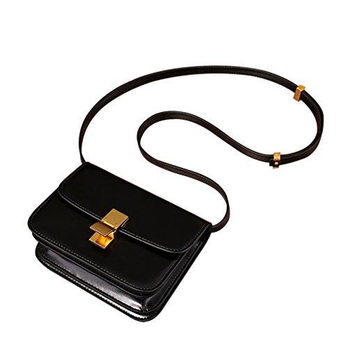 Mena UK Moda de la Mujer Retro Caja de vaca Una variedad de colores suave acabado Bolsas de hombro bolsa de mensajero Negro
