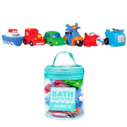 (Waddle Transportation Bath Squirter Toys Boys Cars Trucks 6 Pack Bathtime Gift)